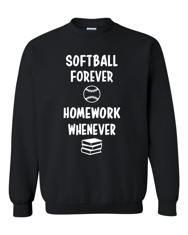 Softball forever homework whenever Crewneck Sweatshirt