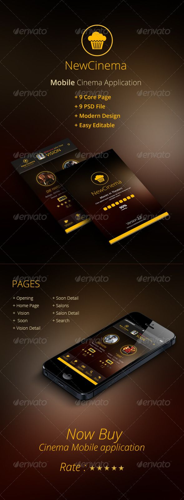 NewCinema #GraphicRiver Project Highlights + Mobile Cinema Application UX + 9 Core Page + 9 PSD File + Easy Editable + Modern Design Fonts Open Sans Created: 2November13 GraphicsFilesIncluded: PhotoshopPSD #LayeredPNG #JPGImage HighResolution: Yes Layered: Yes MinimumAdobeCSVersion: CS PixelDimensions: 640x960 Tags: cinema #film #mobilpsd #mobileui/ux #movies