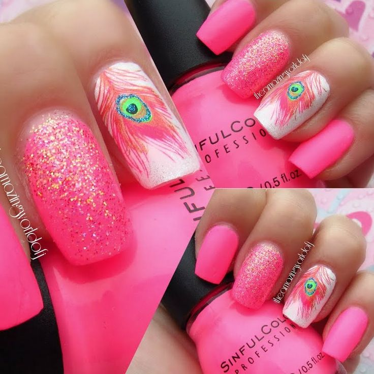 Escape to sunny beaches with these fun flamingo pink glitter nails.