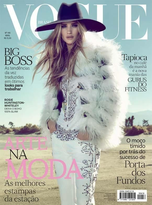 Beautiful Blonde British Model And Actress Rosie Huntington-Whiteley Modeling For The Cover Of Vogue Brazil (Vogue Brasil) Magazine Modeling As One Of The Highest Paid Models In The World. The best modeling agencies for women. Vogue magazine cover models.