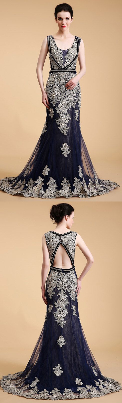 Fitted Mermaid Style Lace Beading Blue and White Evening Dress with Hole Back. 2018 Luxury Embroidery Collection for Mature Women. #GemGrace 2018 new formal dresses preview. High quality and unique embroidery for the luxe collection. Click to view more about our styles!