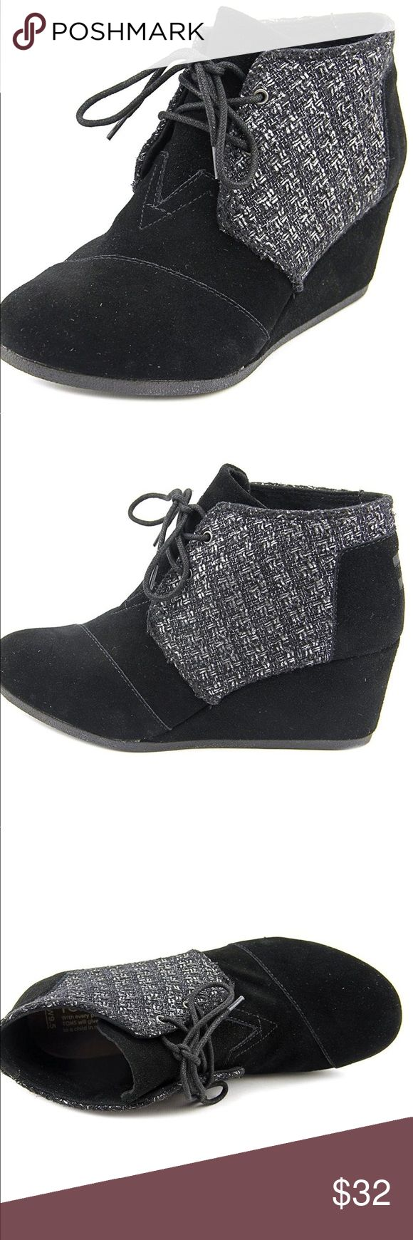 Brand New Toms Desert Wedge Booties Brand new toms desert wedge booties in black suede metallic boucle. These are so cute and the colors are perfect! Lace up for comfort - perfect for any outfit, season or occasion! Brand new without the box, but never been worn! You must have these! Let me know if you have any questions! TOMS Shoes Ankle Boots & Booties