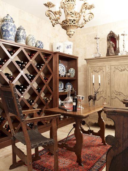 Wiseman and Gale Interiors - Interior Designer - Scottsdale - Eclectic - Mediterranean - Rustic - Southwestern - Traditional - Basement - Cellar - Wine -Storage - Wood Furniture - Wood - Neutrals - Shelving - Unique - Chandelier - Armoire - Antique - Vases - Luxe - Rug - Cream - Red - Storage