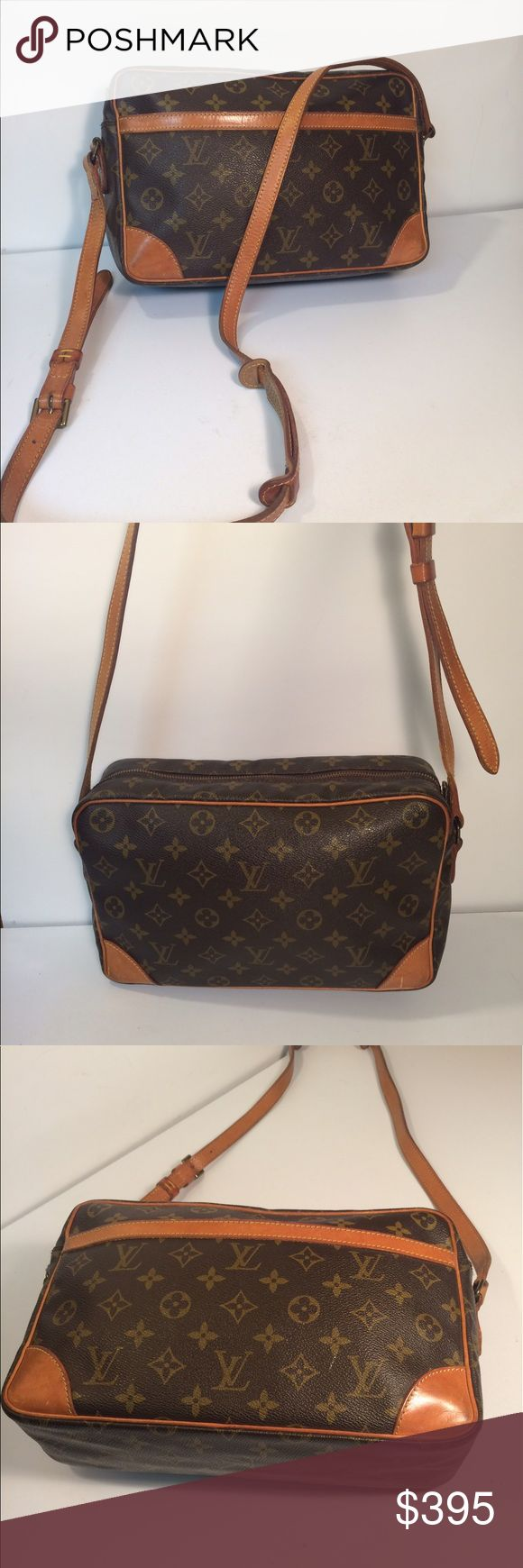 """Louis Vuitton Trocadero Cross Body Shoulder Bag Louis Vuitton Trocadero Cross Body Shoulder Bag ... Date code: TH872 ... Length: 12"""" ... Height: 8"""" ... Width: 3"""" ... Shoulder drop: 23"""" ... Features: Adjustable shoulder strap ... Top zippered closure ... Exterior slip pocket ... Zippered interior pocket ... Condition: Normal sign of use ... Interior pocket lining wear ... Guaranteed Authentic. Louis Vuitton Bags Crossbody Bags"""