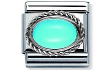 Nomination stainless steel and Sterling Silver setting with an oval Turquoise Stone Classic Charm