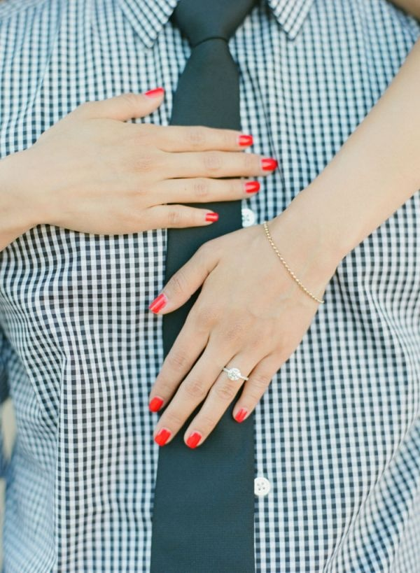 Wedding PR, Wedding Public Relations, Wedding Marketing Expert, Caroline Tran, Southern California engagement session, outdoor engagement session ideas, plaid, classic black attire, red nails, gold dress, plaid, summer dress, early fall engagement