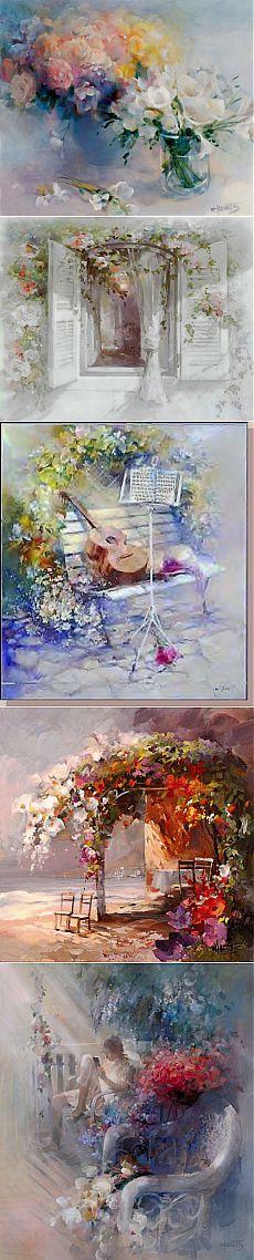Willem Haenraets импрессионист,  рисует акварелью  художественные картины, полные тепла, неповторимого мягкого света.   Willem Haenraets  родился  9-ого октября 1940 в   Heerlen Нидерланды.  Рисует  с  детства. Закончил  Художественную Академию Maastricht  и  Бельгийский Национальный  Институт  искусств в Антверпене. Нежные, воздушные акварели художника завораживают, притягивают, манят в свой светлый, солнечный мир.