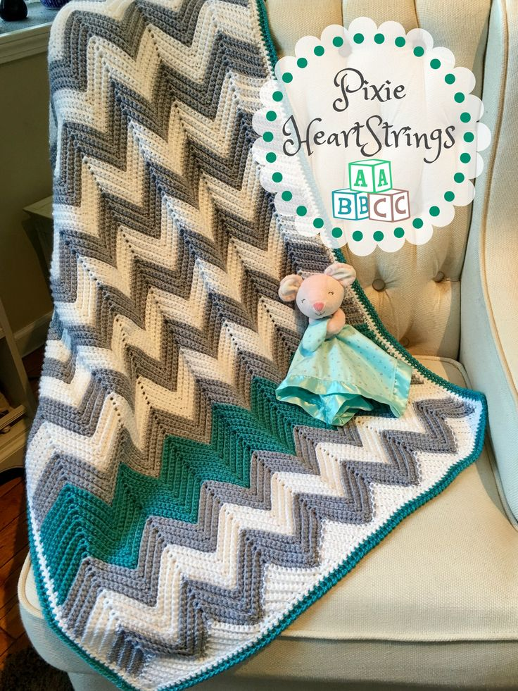 Chevron Baby Blanket made by Pixie HeartStrings Pattern Link on Page...