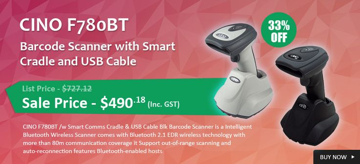 Get Now 33% OFF on CINO F780BT Barcode Scanner with Smart Cradle and USB Cable. Onlypos provide FREE Shipping in Australia..!   http://www.onlypos.com.au/cino-barcode-scanner-fbc780bbtskit-u