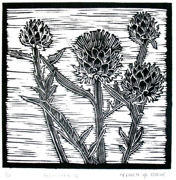 Title: Artichoke I Medium: Linotype Edition: 1/10 Size: 200 x 200mm Artists thoughts: Artichokes are wholesome food with deeper symbolic meaning to me. The vegetable needs to be cooked well to be enjoyed. The hard outer layers need to be peeled away to get to the heart of the artichoke. God also peeles away our outer layers to get to our heart – He is interested in our hearts.