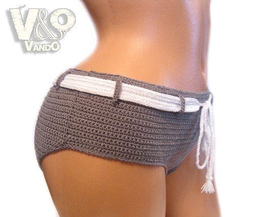 Handmade Crochet Shorts Crochet Bikini Bottom Womens by VandOUA, $50.00
