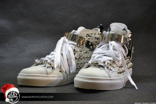 Work_On leather shoes - #leather #shoes #custom #studs #sneakers #workon #fashion #handmade #madeinitaly - www.workoncustom.com - mod. Silver Impression