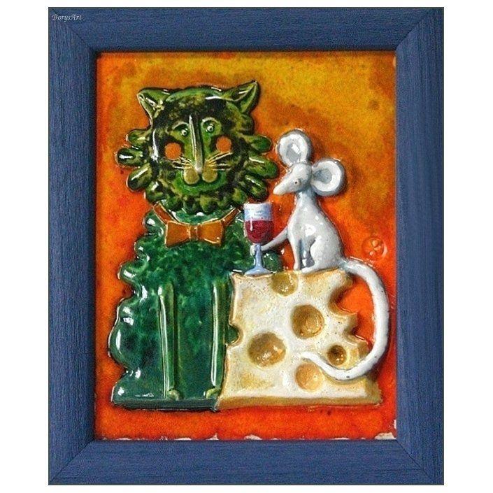 WYPIJMY ZA ZGODĘ  /obraz ceramiczny, majolika/ Danuta Rożnowska-Borys