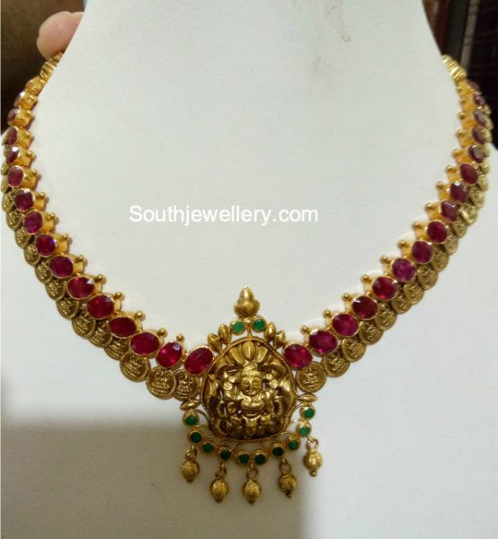 Simple Ruby Kasu Necklace photo