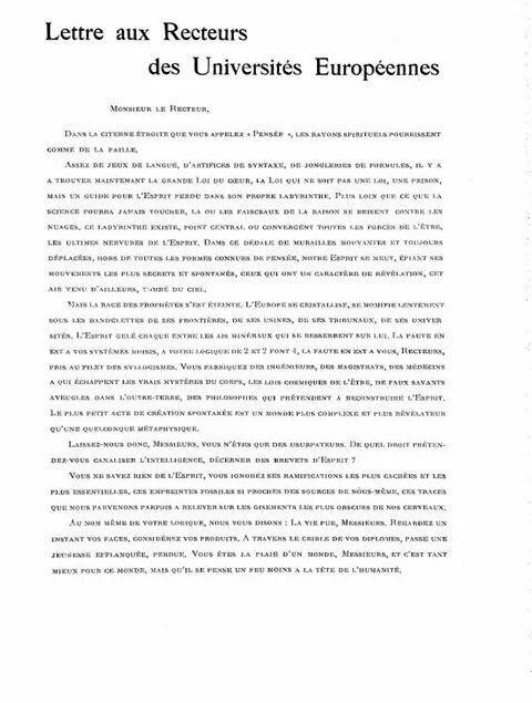 Carta a los rectores de las universidades europeas se or for Lo espejo 0847 la cisterna