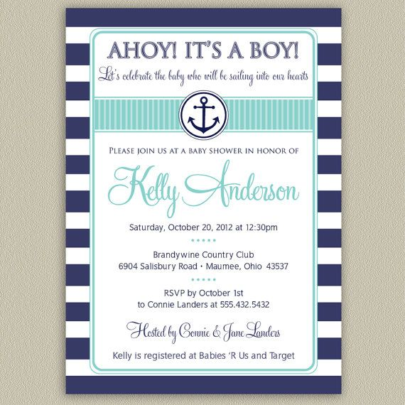 29 best nautical baby shower images on pinterest | boy baby, Baby shower invitations
