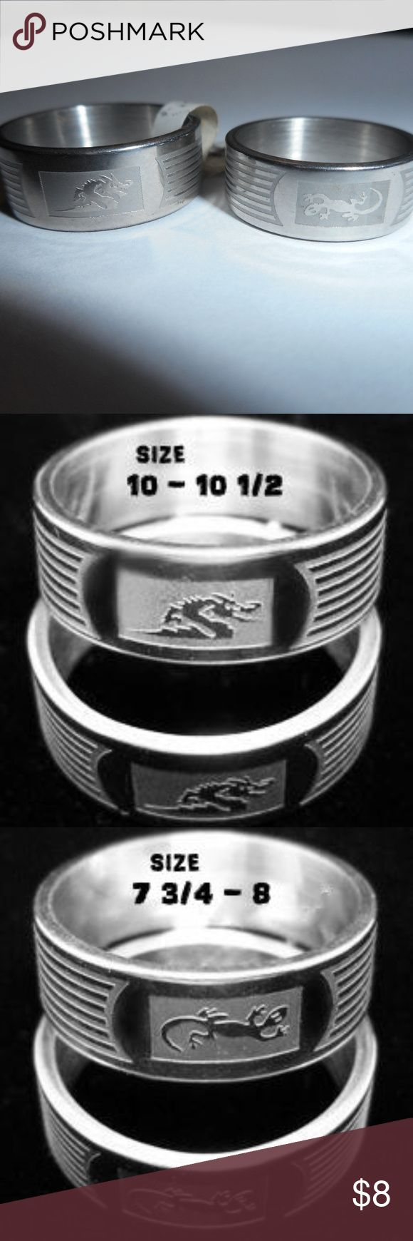 Men's Rings ... Stainless Steel Rings...Never worn Men's rings but Ladies can wear them if they are into dragons or lizards stainless steel rings  Lizard ring size 7 3/4 - 8 Dragon ring size 10 - 10 1/2 (this ring has a tag with a ?european? size 20)  the rings were never worn but were stored in a box in the barn for several years. the main picture is a picture of the exact rings for sale.  The rings with the sizes posted on them are stock photos, the rest of the images are the exact rings…
