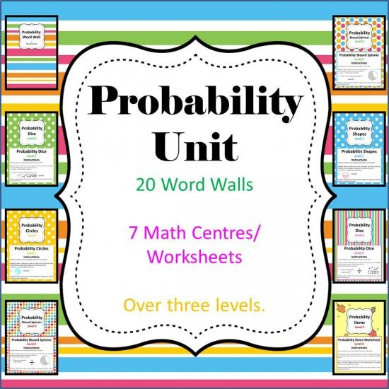 Probability Unit - 8 Math Center/Literacy/ Worksheets & Wordwall product from BaysideTeacfher on TeachersNotebook.com