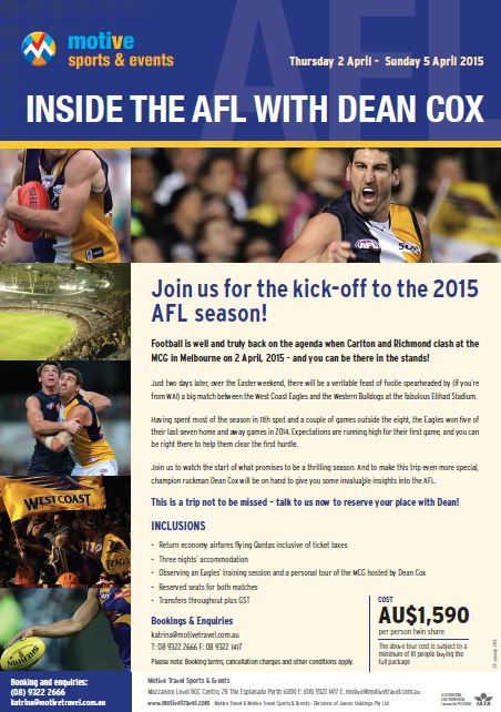Australian Rules Football fans, join us on this unique tour to kick-off the 2015 #AFL season!