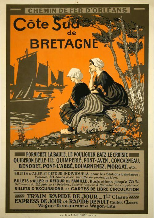 Côte Sud de Bretagne - 1911 - illustration de  J R Ch Naurac -