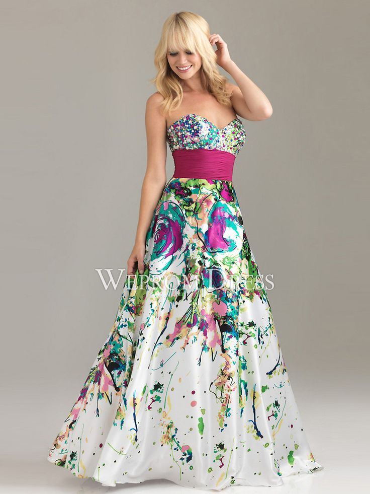 Popular Printed Multi-color Strapless|Sweetheart Natural Backless Petite|Rectangle long prom dresses -wepromdresses.com