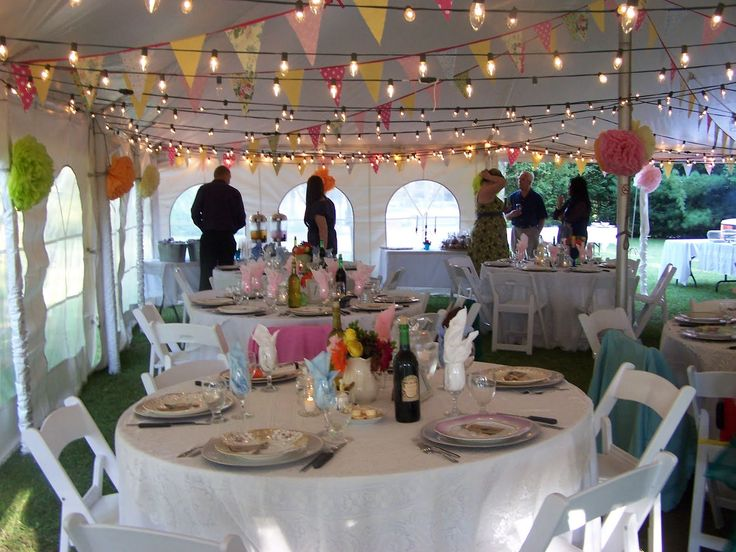 Bunting and lights in tent future wedding stuff and for Diy wedding reception lighting