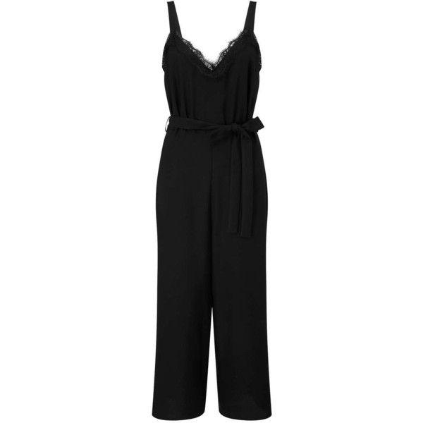 Miss Selfridge Black Lace Detail Jumpsuit ($82) ❤ liked on Polyvore featuring jumpsuits, black, miss selfridge, jump suit and miss selfridge jumpsuit