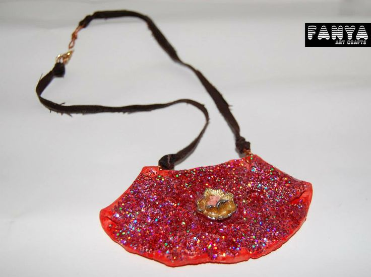 "Bib necklace ""brilanta"" made from air dry clay"