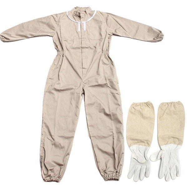 Puro algodón traje de apicultura traje de abeja de trabajo pesado de cuero traje espacial abeja ventilado manteniendo los guantes