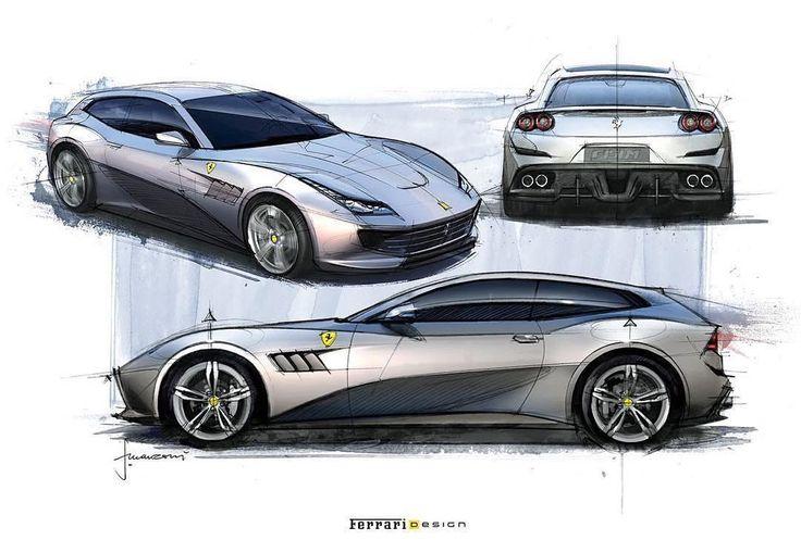 #Ferrari GTC4 Lusso sketches