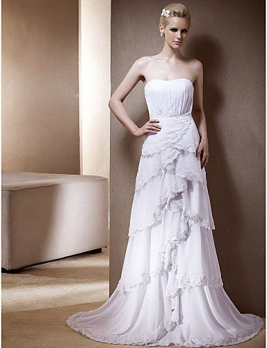 Princess Strapless Natural Sweep/Brush Train Sleeveless Zipper Chiffon Classic Timeless Church Wedding Dress #170037(More color option)