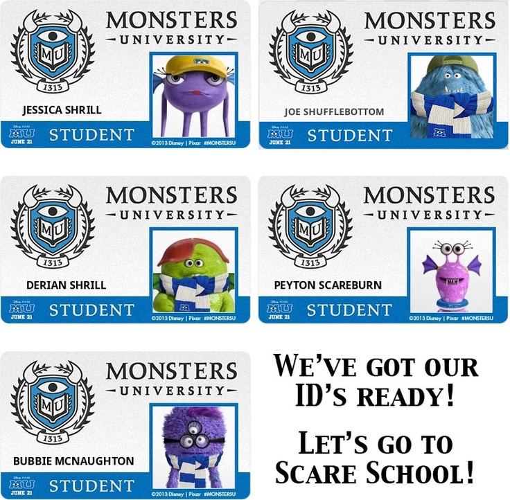 Im so excited and my kids are to!  We've got our ID cards ready to go to Scare School. Monsters University here we come!