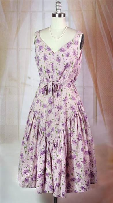 lilac bouquet dress - sashed at waist with sweetheart neckline and gathers at hips
