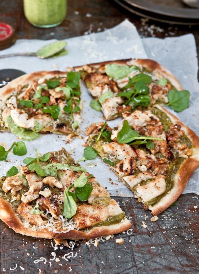 Buttermilk Chicken, Walnut, Tarragon and Watercress Pizza: What Katie Ate: Chocolates Trifles, Watercress Pizza, Grateful Parmesan Chee, Healthy Pizza, Buttermilk Chicken, Chicken Pizza, Homemade Pizza, Chicken Breast, Katy Ate
