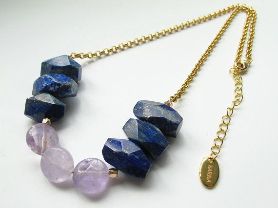 Faceted #lapislazuli stone and #amethyst necklace, candy color gemstone #collarnecklace, 24 K #gold chain, FREE shipping #newarrival #highquality #affordable #freeshipping #bead #beads #gem #gems #gemstone #gemstones #jewelry #jewellery #jewelrymaking #jewelrysupplies #jewelrysupply #etsy #farragem #design #designer #handcrafted #handmade #ring #necklace #earrings #bracelet #pendant