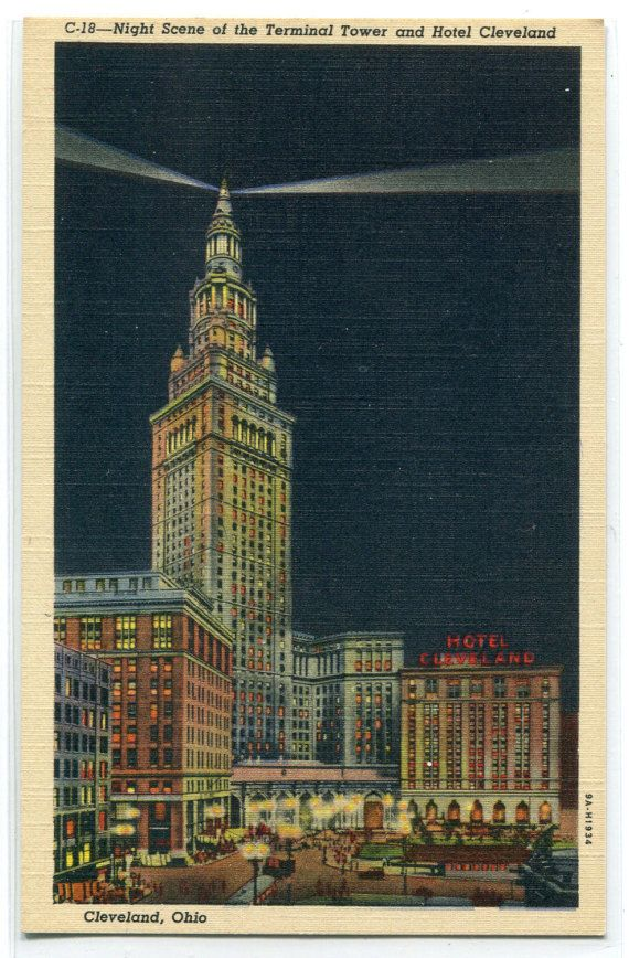 Terminal Tower At Night Hotel Cleveland Ohio by ThePostcardDepot