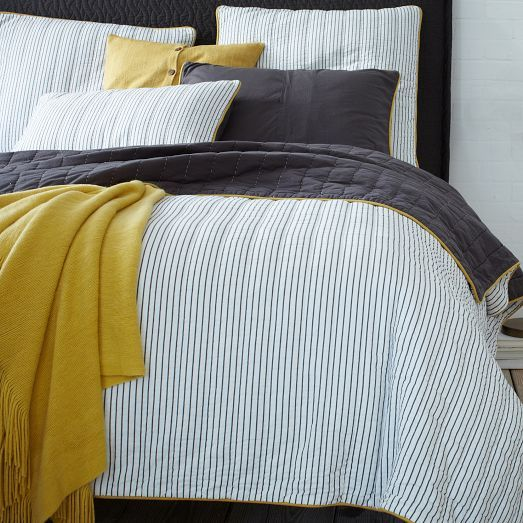 NEW! Tailored Stripe Coverlet + Shams from west elm