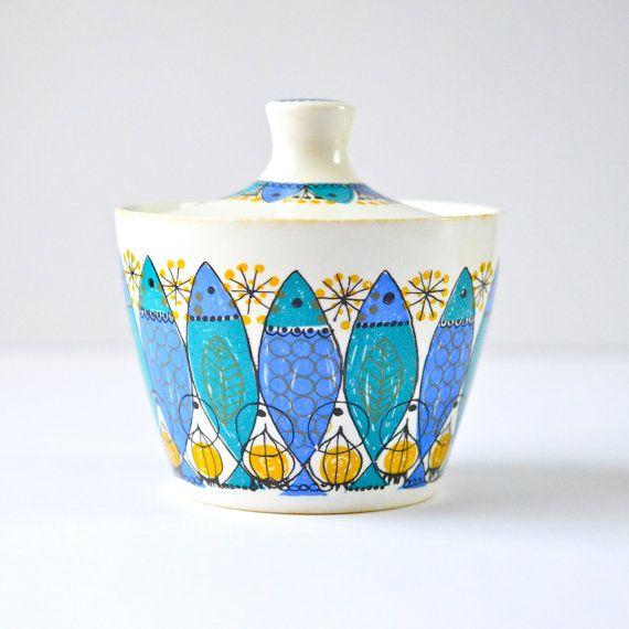 Vintage Turi Design Figgjo Clupea Fish Pattern Ceramic Sugar Bowl