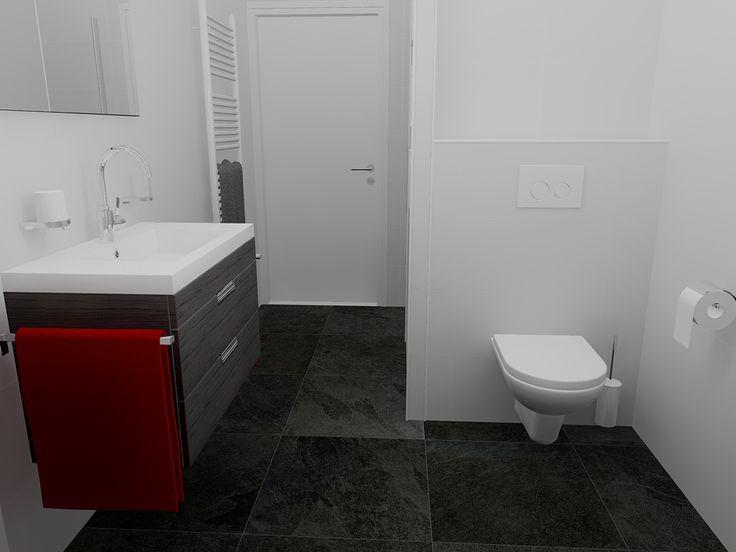 Moderne zwart wit betegelde badkamer met WC achter de douche, voor een betere kijk op het ontwerp http://www.sani-bouw.nl/badkamer-lepelstraat