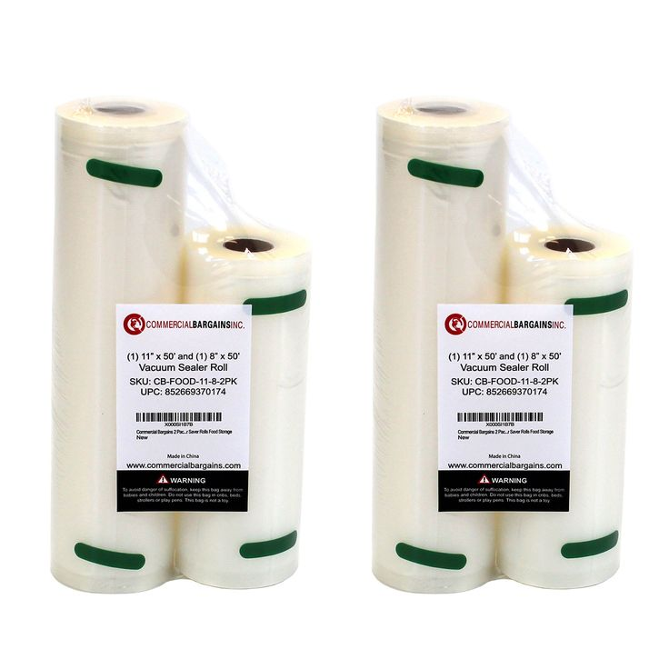 """(2) 11"""" x 50' and (2) 8"""" x 50' Commercial Vacuum Sealer Saver Rolls"""