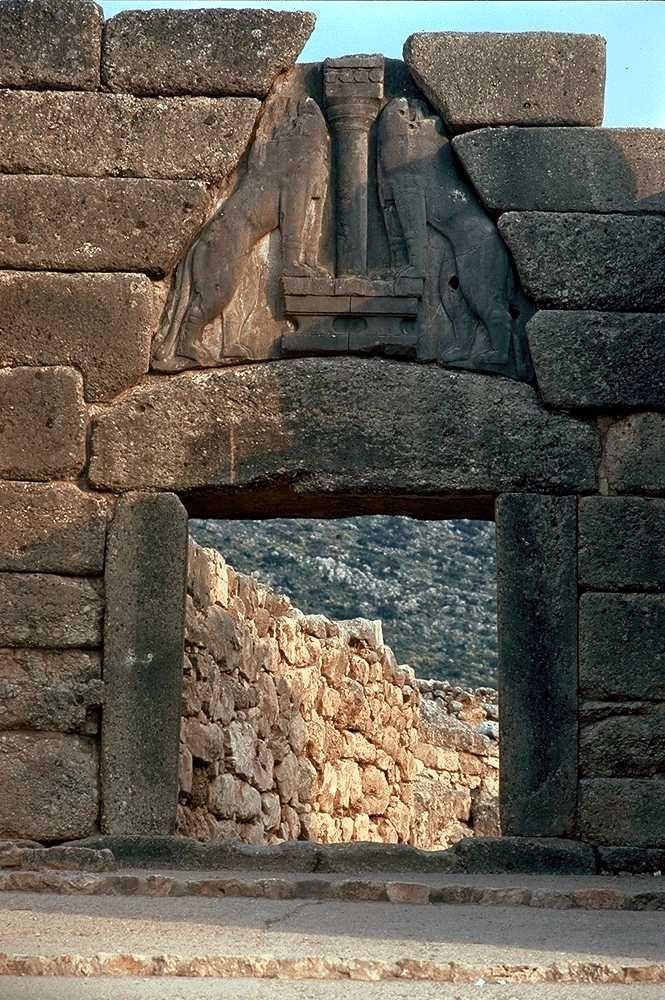 Lion Gate   Citadel at Mycenae   Mycenae,   around 1500-1300 B.C.E.    limestone   height of relief: 9.5'