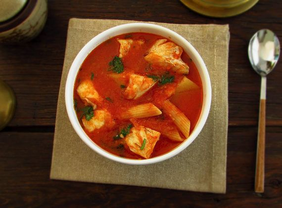 Ling fish soup | Food From Portugal. Delicious soup, ling fish cooked in tomato, olive oil, onion and garlic, mixed with potato and pasta, sprinkled with chopped coriander. http://www.foodfromportugal.com/recipe/ling-fish-soup/