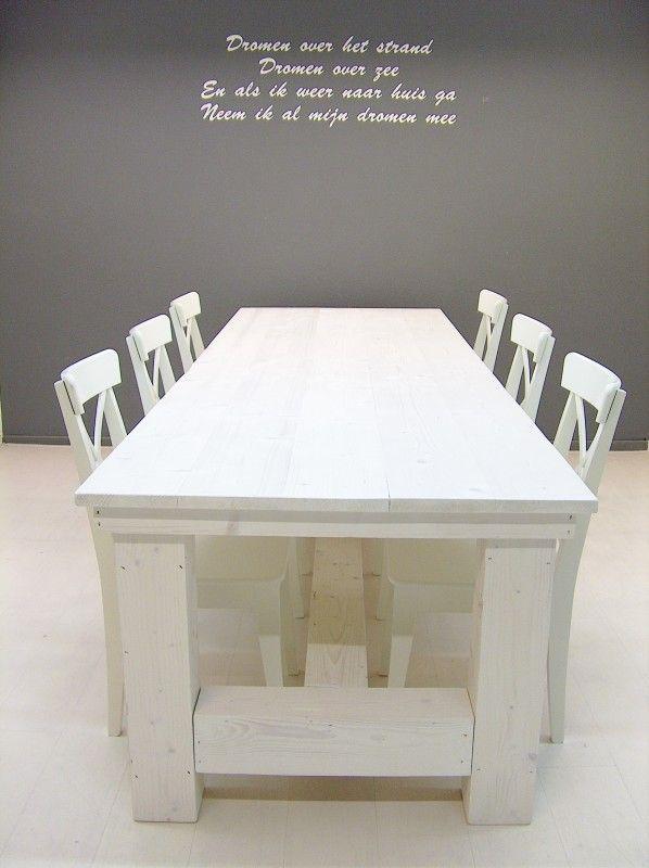 NIEUW Kloostertafel steigerhout (whitewash behandeld) (142013KLTW) | Tafels van steigerhout | JORG`S Houten Meubelen