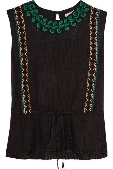 Vanessa Bruno | Elba embroidered silk top | NET-A-PORTER.COM