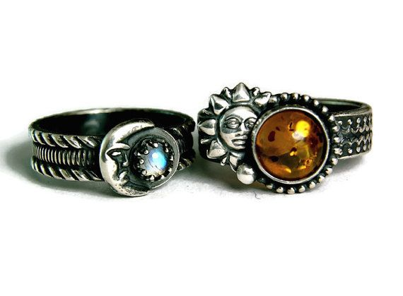 Solid Sterling Silver Bohemian Amber Sun and Moonstone Man wedding set. I designed this set several times now for beautiful boho couples in