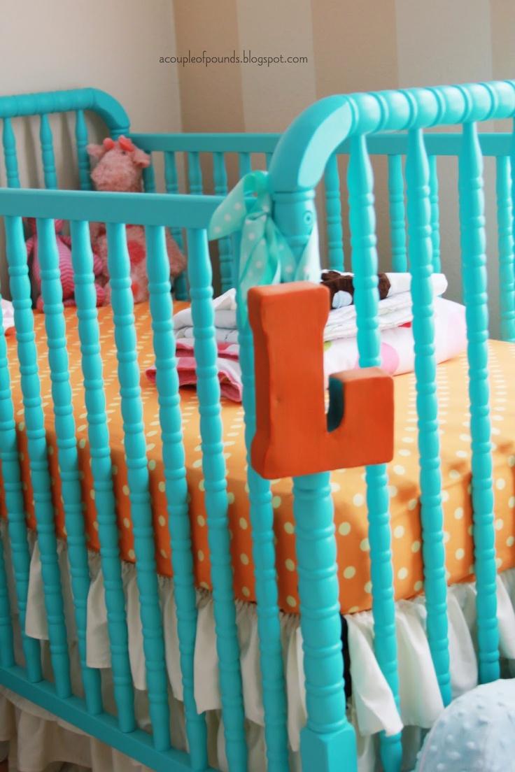 harrison u0026 lylau0027s nursery painted baby crib painted metal letter polka dot sheets - Used Baby Cribs