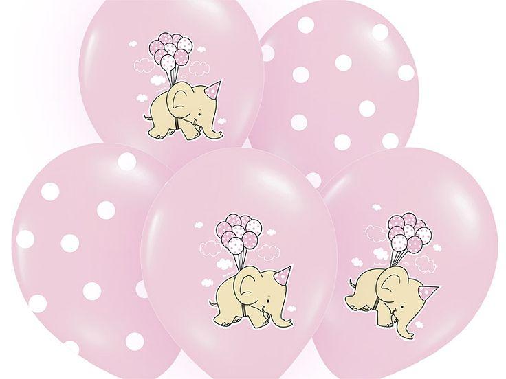"""Zestaw 5 balonów lateksowych 14"""" (37 cm).  W skład zestawu wchodzą: 3 balony w kolorze różowym z dwustronnym nadrukiem graficznym Słoniki;2 balony w kolorze różowym z nadrukiem w białe kropki  Doskonały dodatek na roczek, chrzciny oraz przyjęcie urodzinowe dla dziewczynki."""