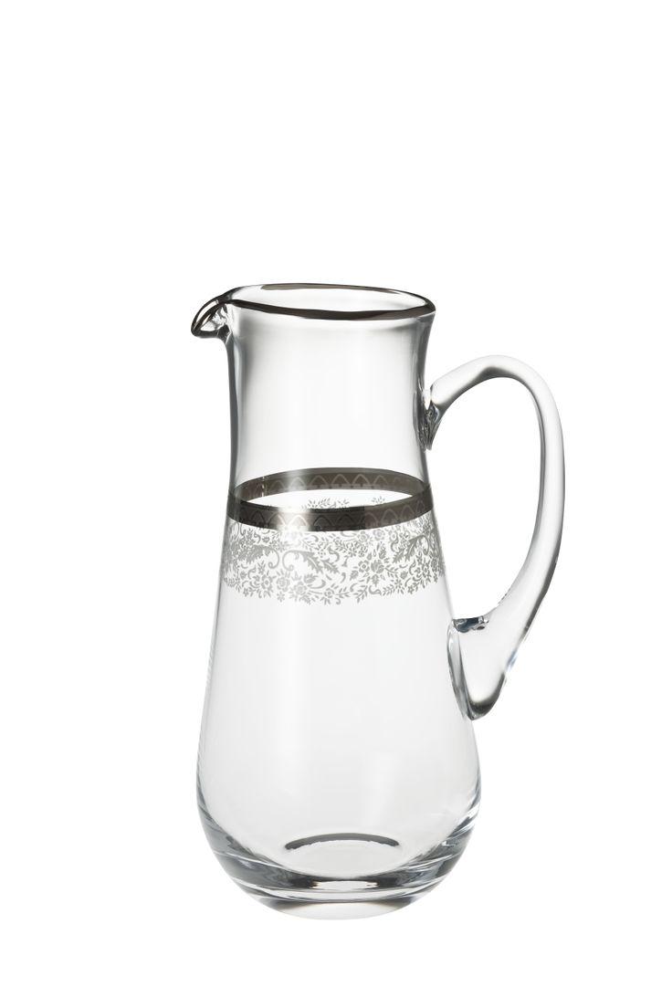 Bridal Platinum Sürahi / Water Pitcher #bernardo #tabledesign #glass #platinum
