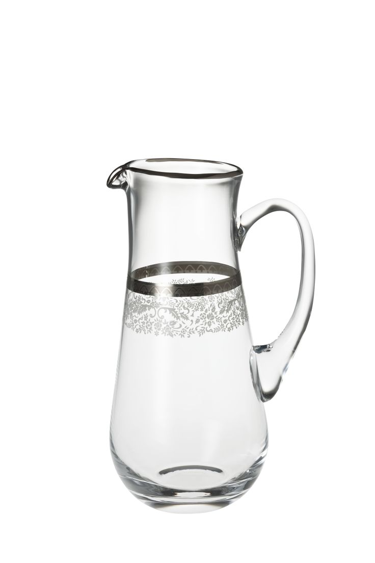 Bridal Platinum Sürahi / Water Pitcher #bernardo #tabledesign #glass #platinum