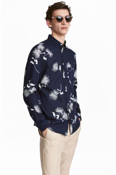 Overhemd - Regular fit - Donkerblauw/bloemen - HEREN | H&M NL 1